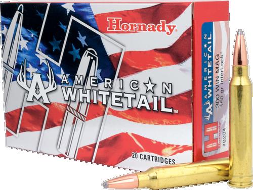Hornady American Whitetail - 300 Winchester Magnum - 150 Grain Interlock Soft Point - 200 Rounds - Case