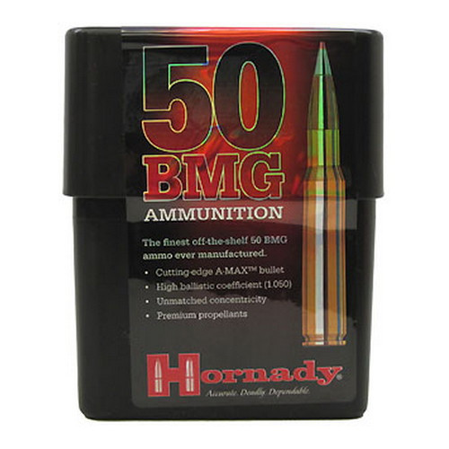 Hornady Match - 50 BMG 750 Grain A-MAX Boat Tail - 100 Rounds - Brass Case
