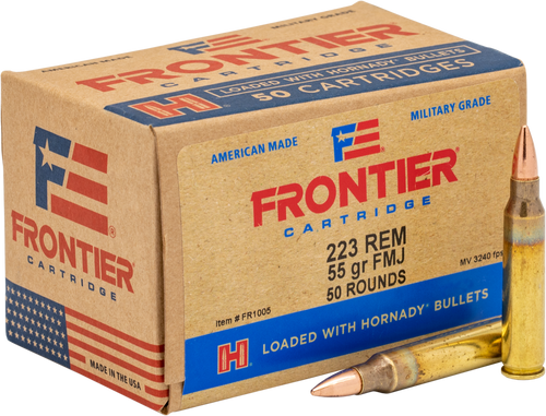Frontier - 223 Remington 55 Grain Full Metal Jacket - 500 Rounds - Brass Case