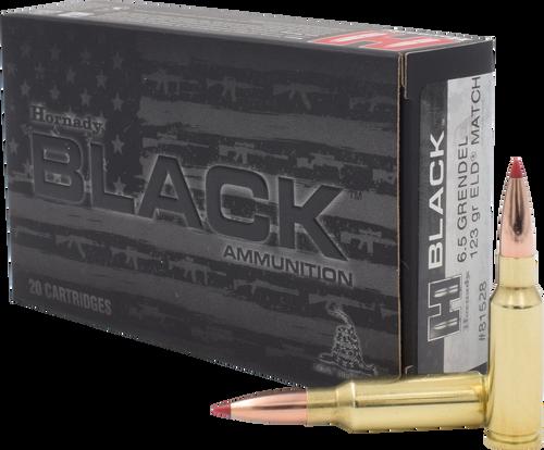 Hornady BLACK - 6.5 Grendel 123 Grain ELD Match - 200 Rounds - Brass Case