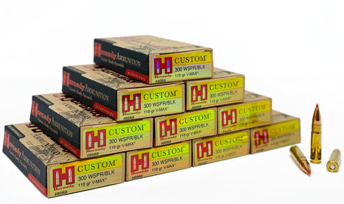 Hornady Custom Ammunition - 300 AAC Whisper - 110 Grain V-Max Flat Base - 200 Rounds - CASE