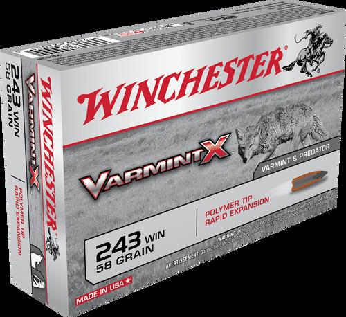 Winchester Varmint X - 243 Winchester 58 Grain Polymer Tip - 200 Rounds - Brass Case