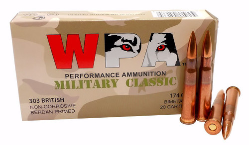 Wolf Performance Ammunition -  303 British - 174 Grain Full Metal Jacket - 100 Rounds W/ Ammo Can - Steel Case