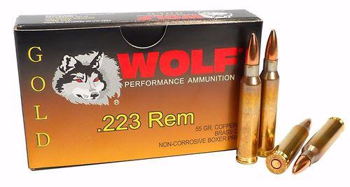 Wolf Gold Ammunition - 223 Remington - 55 Grain Full Metal Jacket - 1000 Rounds - Brass Case