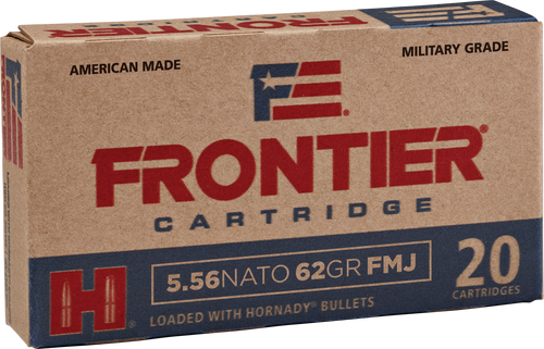 Frontier Cartridge Military Grade - 5.56x45mm NATO 62 Grain Hornady Full Metal Jacket Boat Tail - 500 Rounds - Brass Case***LIMIT 5 PER ORDER***