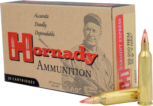 Hornady Varmint Express Ammunition - 22-250 Remington - 55 Grain V-MAX - 200 Rounds - Case