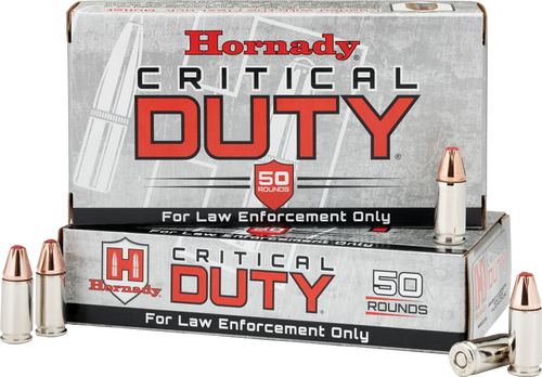 Hornady 9mm Luger +P  124 Grain Critical Duty LE - 500 Rounds - Brass Case