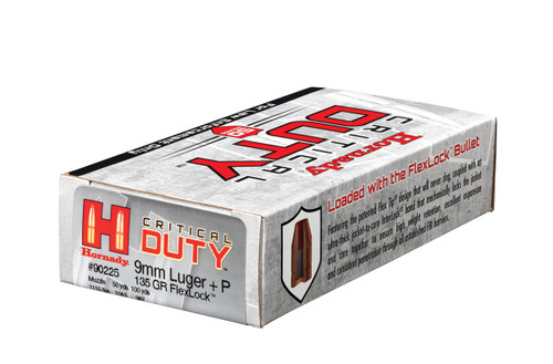 Hornady Ammunition 9mm Luger+P 135 Grain Critical Duty LE - 500 Rounds - CASE