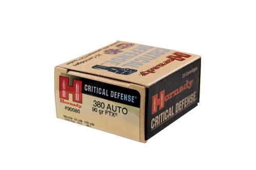 Hornady 380 Auto 90 Grain Critical Defense FTX - 250 Rounds - Brass Case