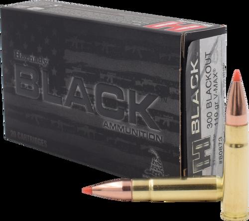 Hornady 300 Blackout 110 Grain V-Max Black - 200 Rounds - Brass Case