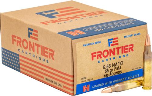 Frontier Ammunition -  5.56x45 MM NATO - 55 Grain Full Metal Jacket - 150 Rounds - Brass Case