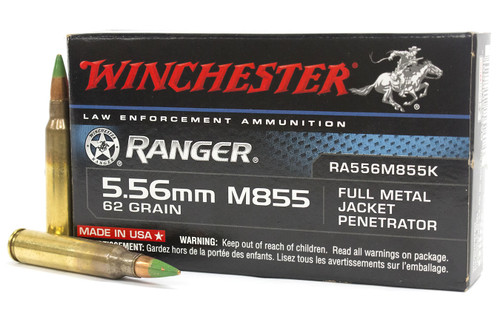 Winchester Ranger Ammunition 5.56 M855 62 Grain FMJ Penetrator - 1000 Rounds - CASE ***LIMIT 2 PER ORDER***