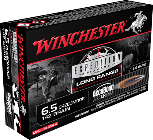 Winchester 6.5 Creedmoor 142 Grain Nosler AccuBond LR - 200 Rounds - Brass Case