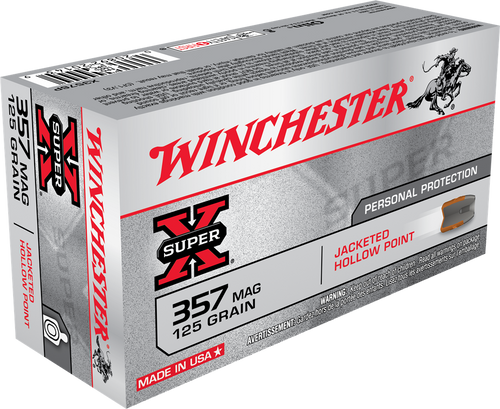 Winchester Super-X 357 Magnum - 125 Grain Jacketed Hollow Point - 500 Rounds - Brass Case