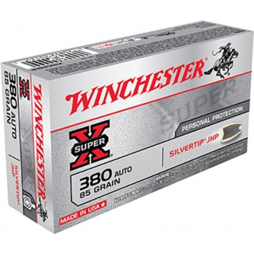 Winchester Super-X Ammunition 380 ACP - 85 Grain Silvertip Hollow Point - 500 Rounds - CASE