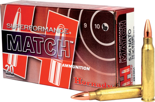 Hornady 5.56x45 NATO 75 Grain Boat Tail Hollow Point Match - 200 Rounds - Brass Case