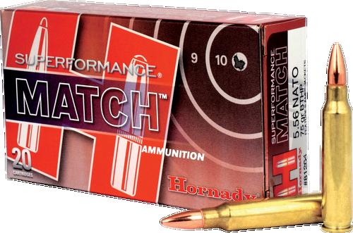 Hornady SuperFormance Ammunition - 5.56x45 NATO - 75 Grain Boat Tail Hollow Point - 200 Rounds - Brass Case