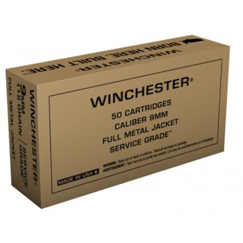 Winchester Service Grade 9mm Luger 115 Grain Full Metal Jacket - 500 Rounds - Brass Case
