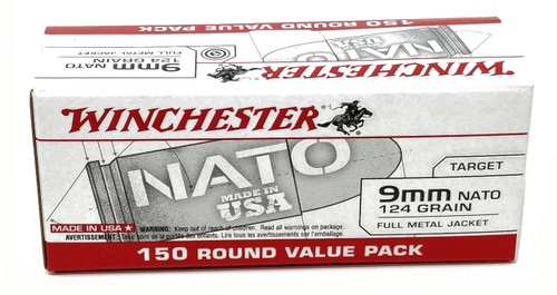 Winchester  NATO  9mm Luger 124 Grain Full Metal Jacket - 750 Rounds - Brass Case ***LIMIT 4 PER ORDER***