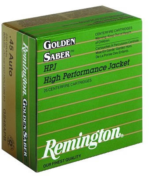 Remington Golden Saber Ammunition 45 Auto 185 Grain Jacketed Hollow Point - 500 Rounds - CASE
