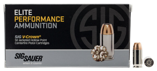 Sig Sauer Elite Performance 45 ACP 200 Grain V-Crown Jacketed Hollow Point  - 1000 Rounds - Brass Case