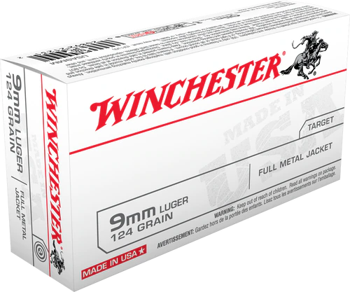 Winchester  9mm Luger 124 Grain Full Metal Jacket - 500 Rounds - Brass Case
