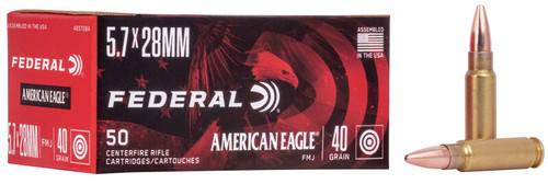 Federal American Eagle 5.7x28mm 40 Grain Full Metal Jacket - 500 Rounds - Brass Case***LIMIT 1***