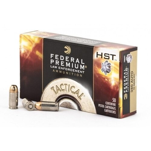 Federal Premium - 380 ACP - 99 Grain HST - Jacketed Hollow Point - 1000 Rounds - Brass Case
