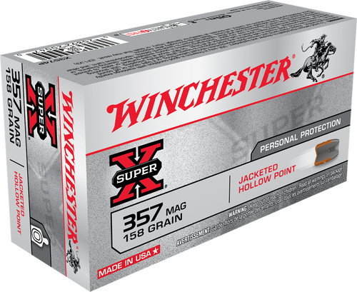 Winchester Super-X Ammunition 357 Magnum - 158 Grain Jacketed Hollow Point - 500 Rounds - CASE