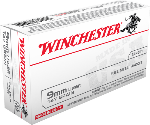 Winchester  9mm Luger 147 Grain Full Metal Jacket - 500 Rounds - Brass Case