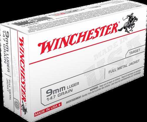 Winchester  Ammunition 9mm Luger 147 Grain Full Metal Jacket - 500 Rounds - CASE