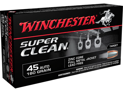 Winchester Super Clean Ammunition 45 Auto - 160 Grain Full Metal Jacket Lead Free - 500 Rounds - CASE