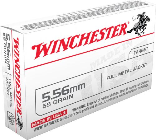 Winchester Ammunition 5.56x45mm NATO M193 -  55 Grain Full Metal Jacket - 500 Rounds - CASE