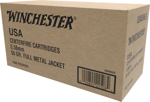 Winchester 5.56 -  55 Grain Full Metal Jacket - 1000 Rounds - Brass Case