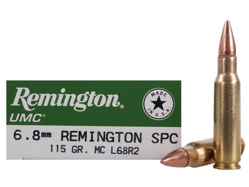 Remington 6.8 SPC - 115 Grain -  Full Metal Jacket - 200 Rounds - Brass Case