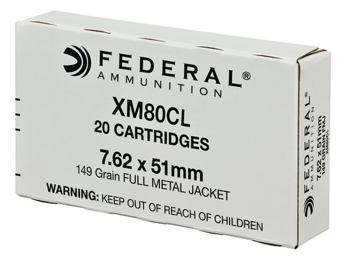 Federal  7.62x51 NATO - 149 Grain Full Metal Jacket - 500 Rounds - Brass Case