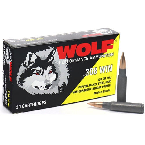 Wolf Ammunition 308 Winchester 150 Grain Copper - Full Metal Jacket - RANGE FRIENDLY - 500 Rounds - CASE