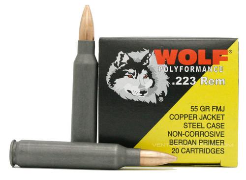 Wolf Ammunition 223 Rem 55 Grain Copper - Full Metal Jacket - RANGE FRIENDLY - 500 Rounds - CASE