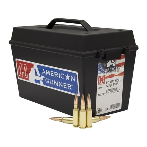 Hornady American Gunner 6.5 Grendel - 123 Grain - Boat Tail Hollow Point - 200 Rounds - Brass Case