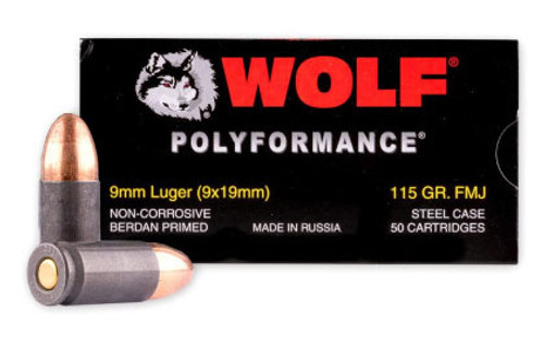 Wolf Ammunition 9mm 115 Grain Full Metal Jacket  - 500 Rounds - Steel Case
