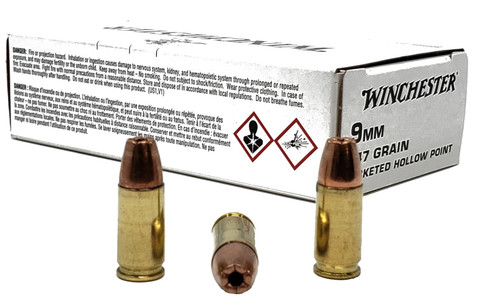 Winchester  9mm - 147 Grain - Jacketed Hollow Point - 500 Rounds - Brass Case