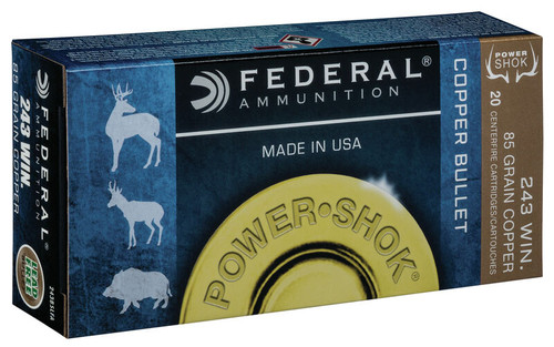 Federal Power-Shok 243 Winchester - 85 Grain - Copper Hollow Point - Lead Free - 200 Rounds - Brass Case