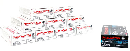 Winchester USA Ammunition 40 S&W - 180 Grain - Full Metal Jacket - 450 Rounds - AND - 50 Rounds - 180 Grain - Ranger T-Series - Jacketed Hollow Point -  COMBO Pack - 500 Rounds - CASE