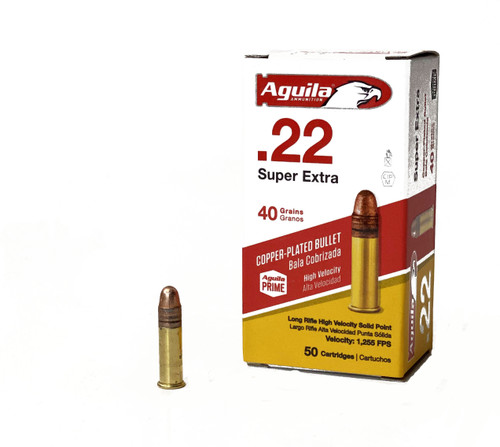 Aguila 22 Long Rifle - 40 Grain - High Velocity - Copper Plated Round Nose - 5000 Rounds - Brass Case