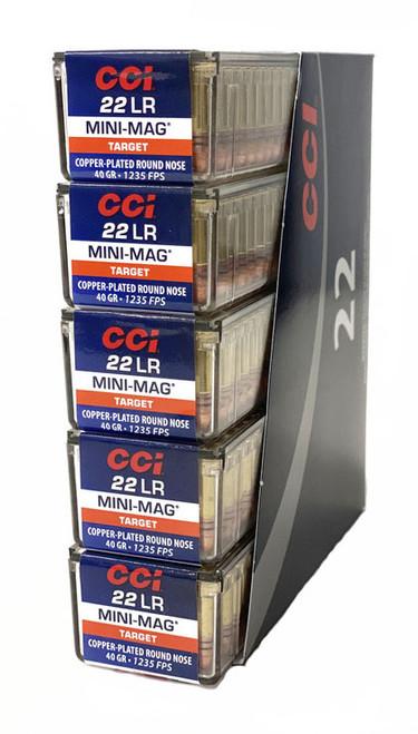 CCI 22 Long Rifle  Mini Magnum - 40 Grain - Copper Round Nose - 5000 Rounds - Brass Case