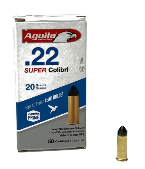 Aguila 22 Long Rifle - 20 Grain - Super Colibri -Powderless - 5000 Rounds - Brass Case