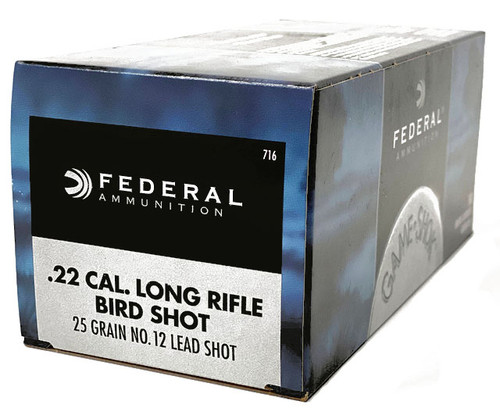 Federal 22 Long Rifle -Bird shot - 25 Grain- #12 Lead Shot- 2500 Rounds - CASE