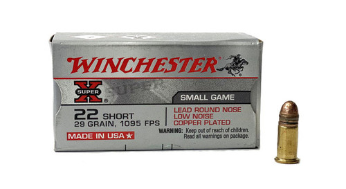 Winchester 22 Short - 29 Grain - Copper Plated Lead Round Nose -5000 Rounds - Brass Case