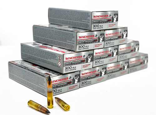 Winchester 300 Blackout - 150 Grain Extreme Point - 200 Rounds - Brass Case