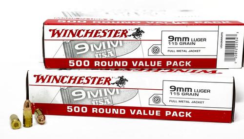 Winchester USA Ammunition 9mm Luger 115 Grain Full Metal Jacket - 1000 Rounds - CASE